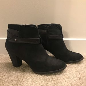 Black booties with leather detail - 3in heel